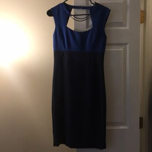 BCBG Max Azria Blue colorblocked cocktail dress